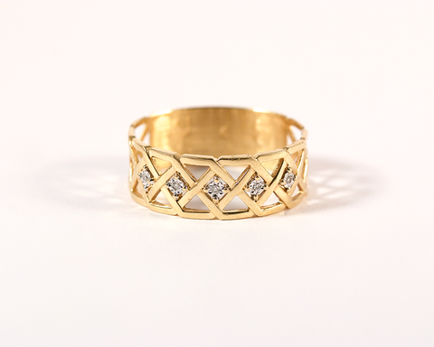 Bague croisillons or jaune et diamants