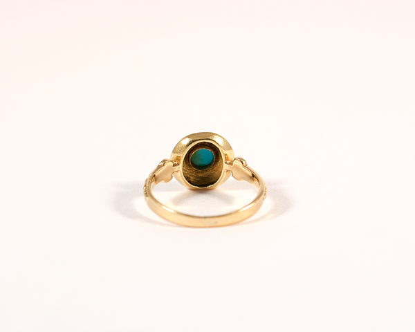 Bague cible or jaune et turquoise