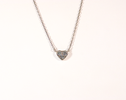 Collier or blanc pendentif coeur en diamants