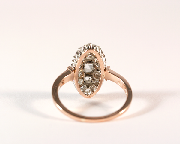 Bague marquise or rose, platine et diamants taille rose