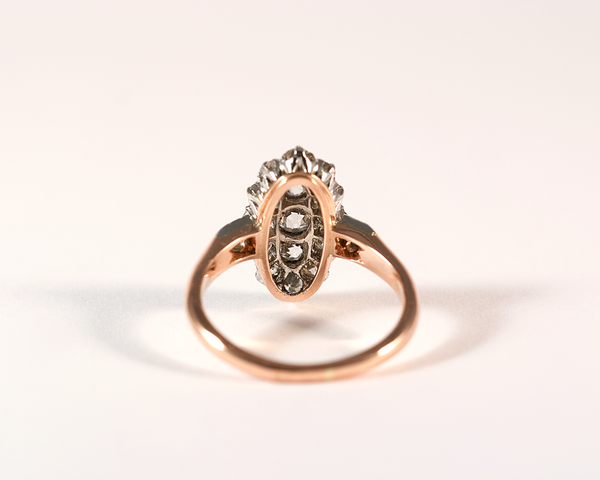 Bague marquise or rose, platine et diamants taille ancienne