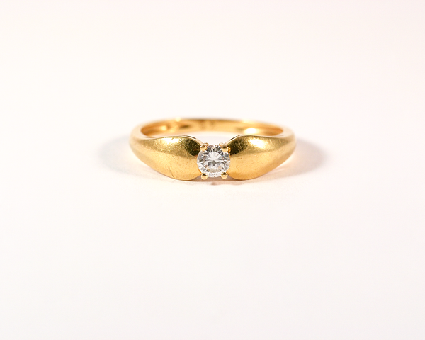 Solitaire diamant or jaune