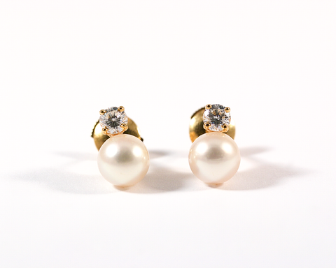 GM235 ICYMI Puces d'oreilles or jaune diamants perles blanches / Gold diamond and pearl ear stud