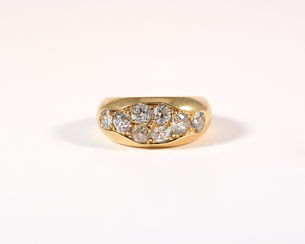or jaune bague diamants taille ancienne old cut diamond band yellow gold