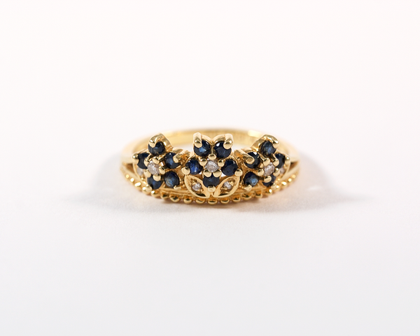 bague fleurs marguerite or jaune diamants saphirs