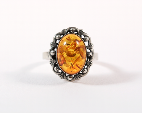 Bague argent cabochon ambre Silver ring amber