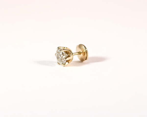 GM256-4 ICYMI Clou d'oreille solitaire or jaune et diamant - Gold and diamond solitaire single stud