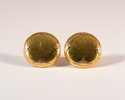 GM258-3 Boutons de manchette anciens 19ème siècle or jaune or rose trèfle recto / Yellow and pink gold antique vintage clover cufflinks