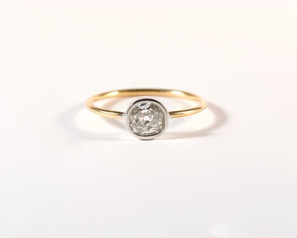 GM260 ICYMI Bague solitaire or jaune or blanc et diamant taille ancienne - yellow and white gold old cut diamond