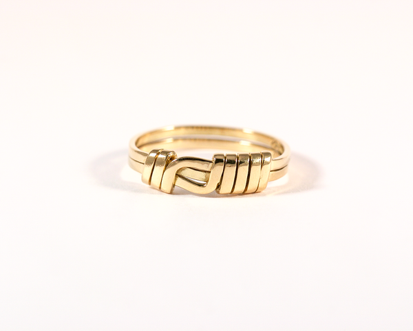 GM263-1 ICYMI Bague ancienne or jaune noeud plat / Gold antique vintage knot ring