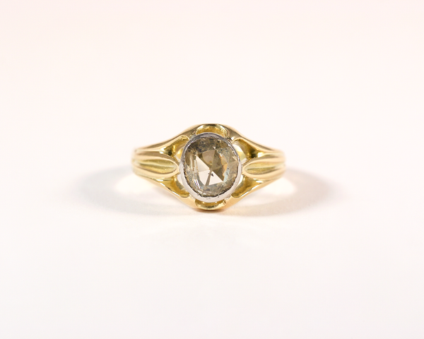 GM263-2 ICYMI Bague ancienne solitaire or jaune platine diamant taille rose 4 / Gold platinum solitaire antique vintage rose cut diamond ring