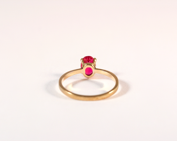 GM265-2 ICYMI Bague ancienne solitaire or jaune pierre rouge 1 / Gold solitaire ring red stone antique vintage