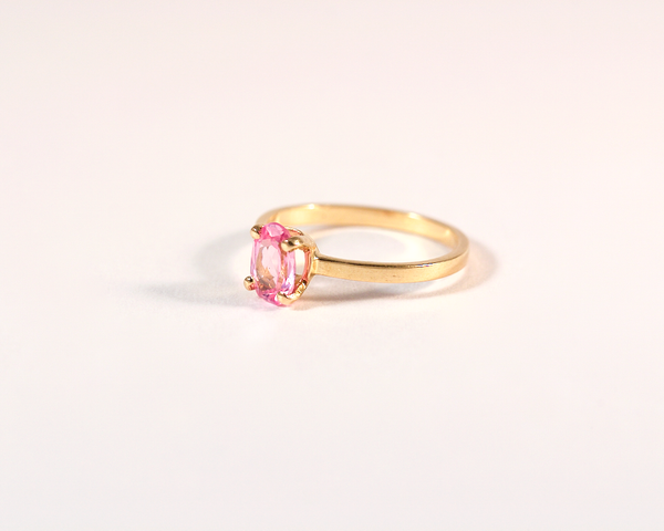 GM265-4 ICYMI Bague ancienne solitaire or jaune pierre rose 2 / Gold solitaire ring pink stone antique vintage