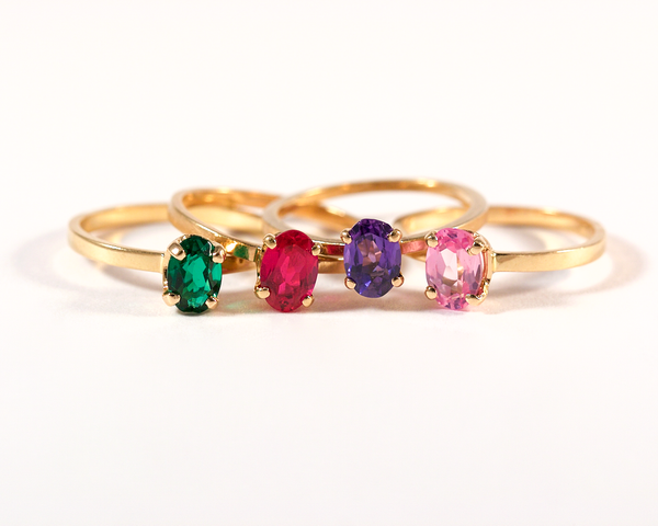 GM265 ICYMI Bagues solitaires or jaune et pierres de couleur 2 / Gold ring and colored glass stones stack