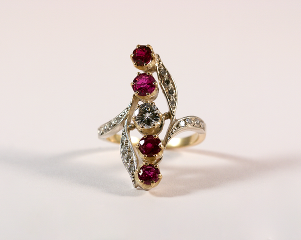 GM266-1 ICYMI Bague arabesque volute or jaune argent diamants rubis ancienne / Gold silver diamond ruby antique vintage ring