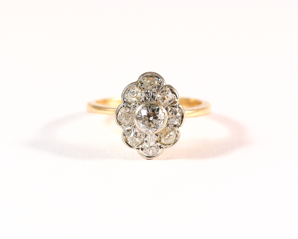 GM266-3 ICYMI Bague marguerite entourage or jaune platine diamants ancienne / Gold daisy cluster platinum diamond antique vintage ring