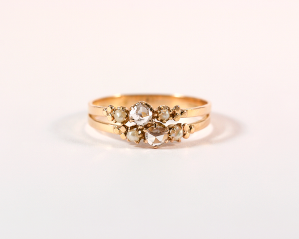 GM271-2 ICYMI Bague ancienne double anneau or rose diamant taille rose et petites perles 4 / Pink gold rose cut and small pearls double vintage antique ring