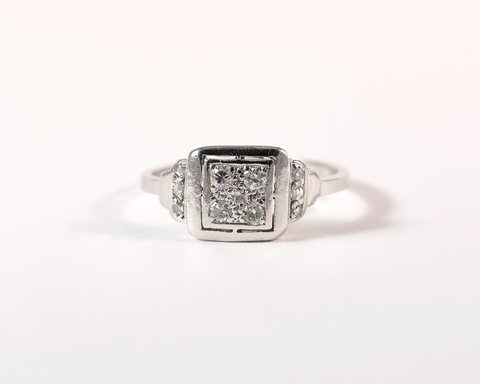 GM283 ICYMI Bague ancienne vintage or platine carrée et diamants années 30 / Gold platinum and diamond antique vintage 1930 ring