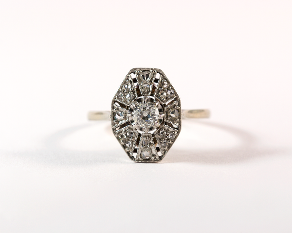 GM284-1 ICYMI Bague ancienne octogonale or platine et diamants / Antique vintage octogonal platinum gold and diamond ring
