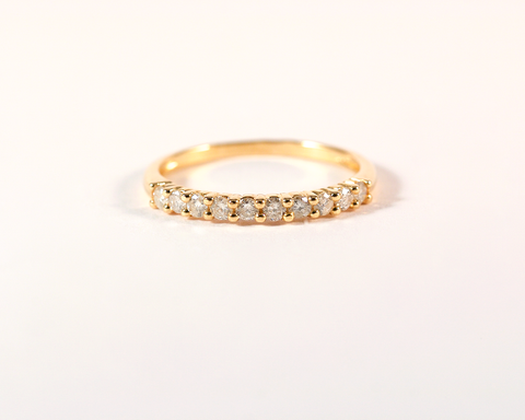 GM289 ICYMI Demi alliance or jaune et diamants d'occasion état neuf / Gold and diamond vintage antique half eternity wedding band