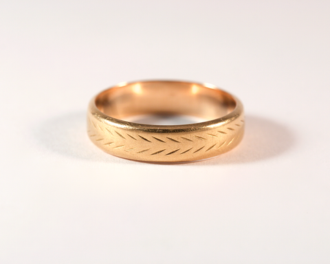 GM290-1 ICYMI Alliance ancienne or rose guillochée / Vintage antique Pink gold wedding band ciseled