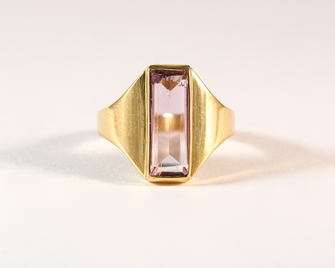 GM291-2 ICYMI Bague ancienne or jaune et barrette améthyste - Vintage gold and amethyst ring