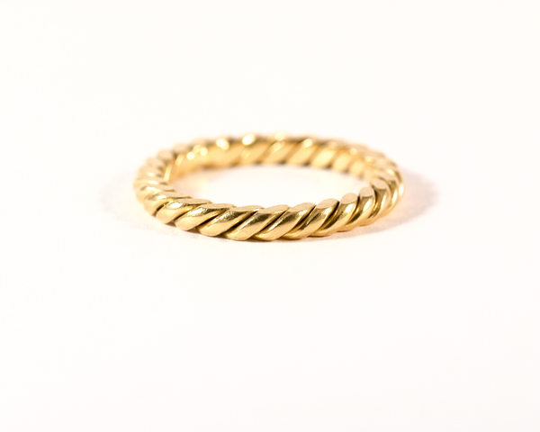 GM291 ICYMI Anneau ancien en or jaune torsadé / Gold antique vintage braided band ring