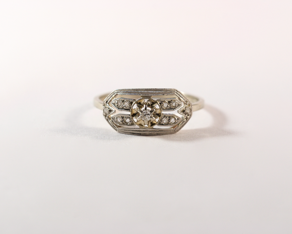 GM295-1 ICYMI Bague ancienne bandeau ajouré années 30 platine et diamants / Gold platinum and diamond art deco vintage antique band ring