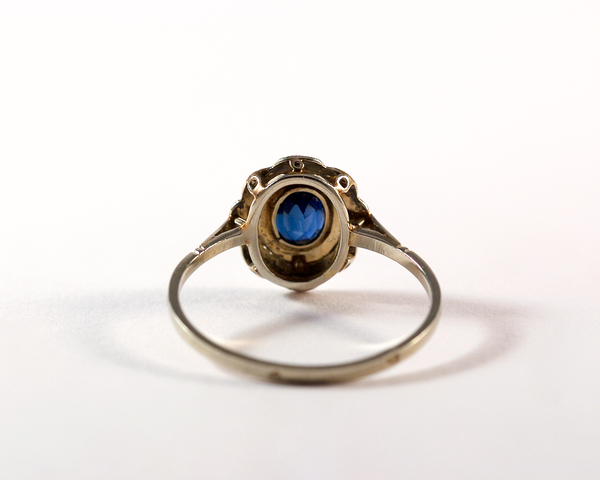 GM295-2 ICYMI Bague ancienne or et pierre bleue / gold and blue glass vintage antique ring