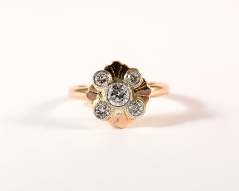 GM297 ICYMI reCréation bague or jaune or rose diamant / Two tone gold and diamond transformed ring