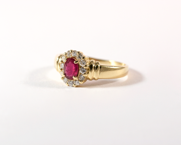 GM298-3 ICYMI Bague ancienne marguerite or jaune rubis et diamants / Vintage antique gold ruby and diamond cluster ring