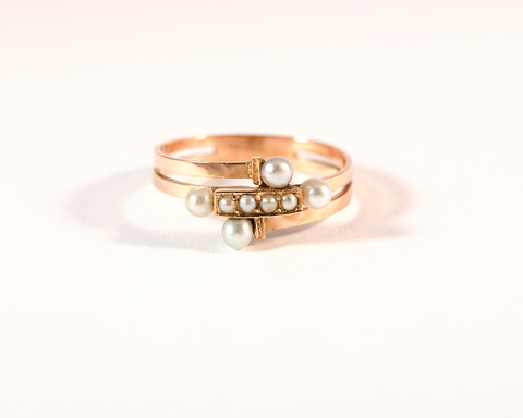 GM299-2 ICYMI Bague ancienne or rose enroulement perles - Pink gold vintage antique pearl ring