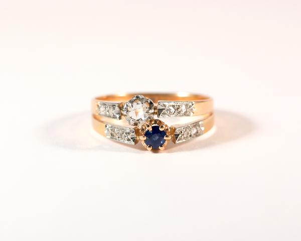 GM306-2 ICYMI Bague ancienne toi et moi saphir et diamants / Gold vintage antique toi et moi diamond and sapphire ring