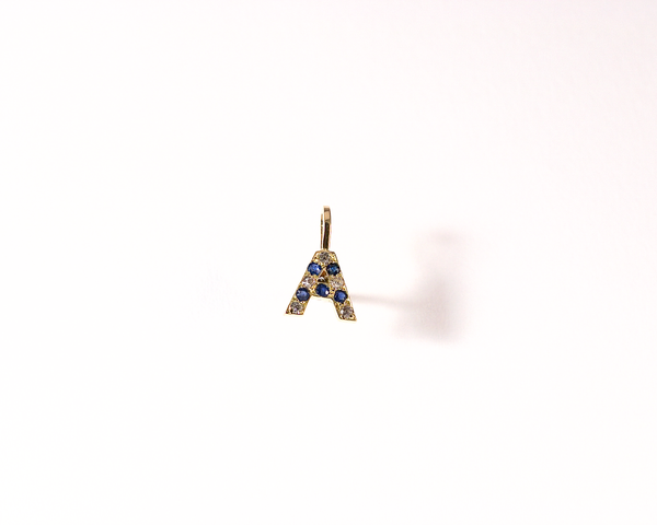 Pendentif A or jaune diamants saphirs