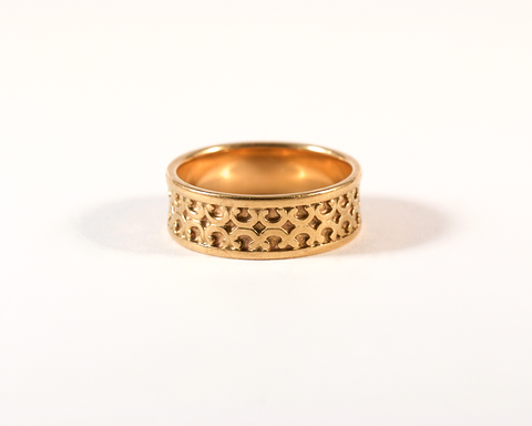 GM310-2 ICYMI Anneau large à motifs en or jaune - Gold large band with symbols