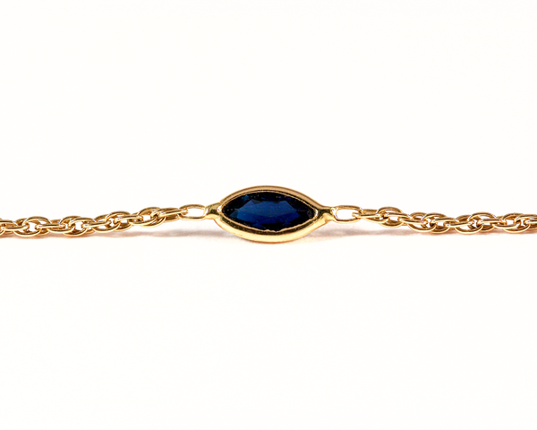 GM313-2 ICYMI Bracelet fine chaîne or jaune saphirs navettes - Gold and marquise cut sapphire bracelet