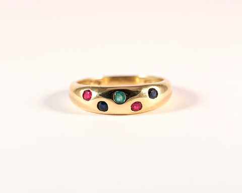 GM314-1 ICYMI Bague vintage jonc en or parsemée de rubis émeraude saphir - Gold antique band ring with sapphire ruby and emerald
