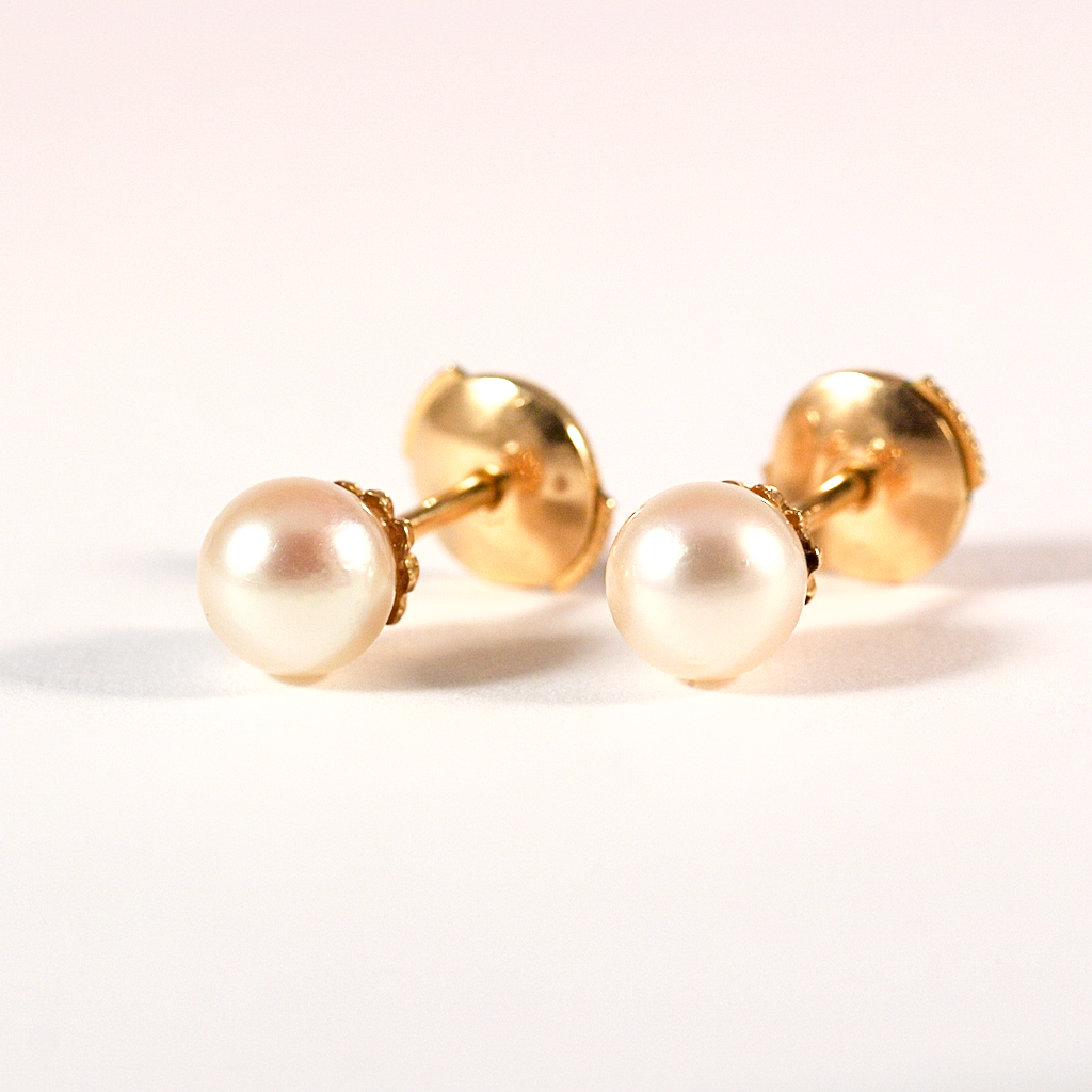 GM315 ICYMI Puces d'oreilles or jaune et perles de culture - Gold and cultured pearl earstuds