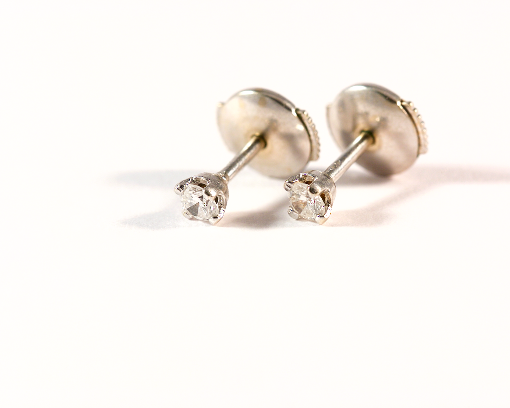 GM316 ICYMI Puces d'oreilles or blanc et diamants face - Gold and diamond earstuds