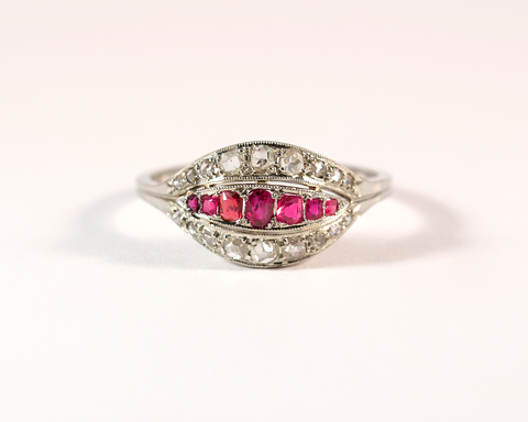 GM319-2 ICYMi Bague ancienne 1930 or platine diamant et rubis - Gold platinum 1930 antique vintage diamond and ruby ring