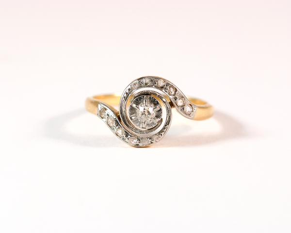 GM325-1 ICYMI Bague tourbillon ancienne or jaune platine et diamant - Gold vintage antique whirlpool diamond ring