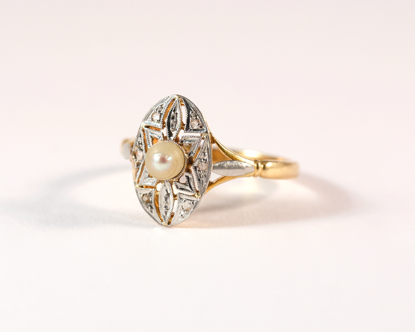 GM325-2 ICYMI Bague ancienne or jaune perle et diamant - gold vintage antique pearl and diamond ring