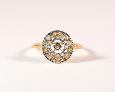 GM325-4 ICYMI Bague ancienne rosace or jaune platine et diamant - Gold and platinum vintage antique ring