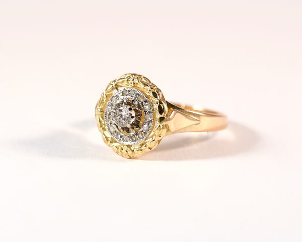 GM325-5 ICYMI Bague ancienne couronne de fleurs or jaune platine et diamant - Gold and platinum flower vintage antique diamond ring