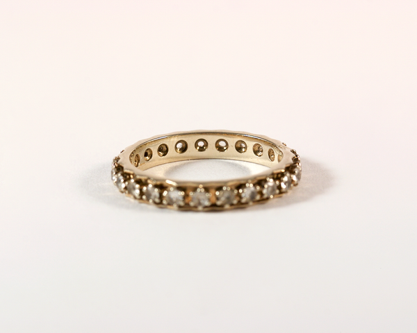 GM327-2 ICYMI Alliance ancienne américaine or gris et pierres blanches - Gold vintage antique and white stone eternity band wedding ring