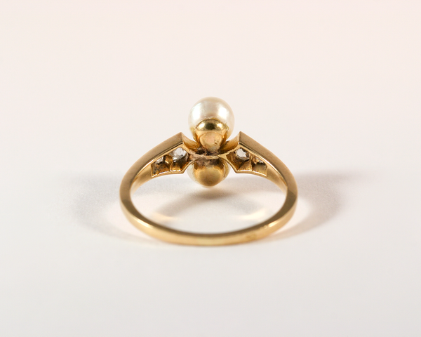 GM330-1 ICYMI Bague ancienne or jaune perles et diamants - Gold vintage antique pearl and diamond ring