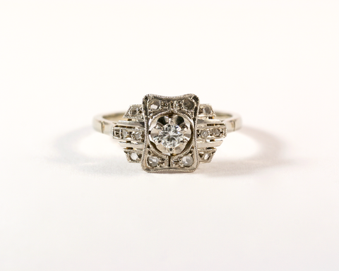 GM330-2 ICYMI Bague ancienne or platine et diamants 1930 - Gold platinum antique vintage diamond ring
