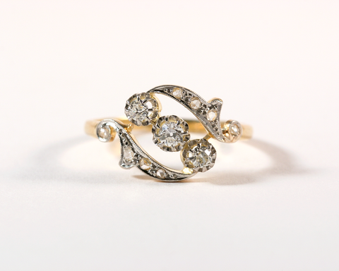 GM333-2 ICYMI Bague volute or jaune diamants face - Vintage yellow gold diamonds volute ring