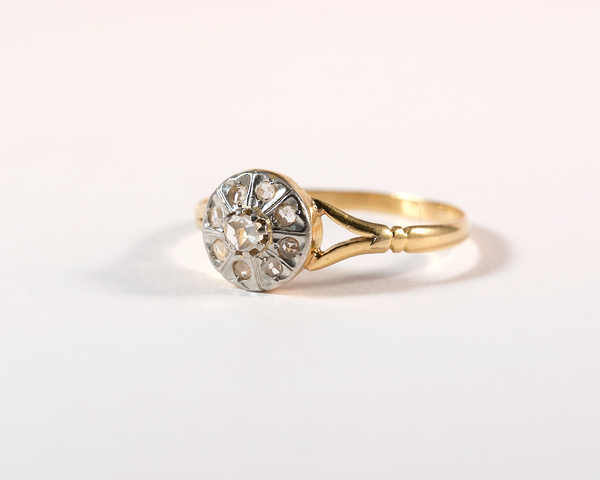 GM333-3 ICYMI Bague marguerite or jaune diamants 3/4 - Vintage yellow gold diamonds cluster ring