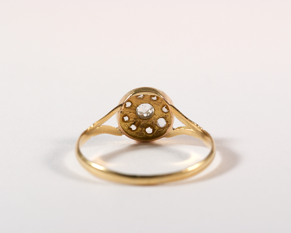 GM333-3 ICYMI Bague marguerite or jaune diamants dos - Vintage yellow gold diamonds cluster ring